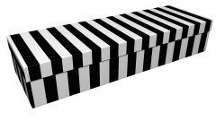 3819 - Black and white pinstripe square casket